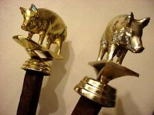 """TWO FOLKART GOLD """" HOG """" PORKER TOPPED RUSTIC RIVED STICKS BY JIM HALL"""