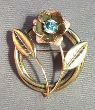 "VINTAGE 14K ROSE & GREEN GOLD FLORAL PIN BROOCH, NAT. BLUE ZIRCON, 1 3/8""x1 5/8"""