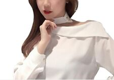 New Spring Women Korean Sweet Long Sleeve Fashion Chiffon Slim Shirt Tops White