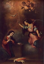 Antique Old Vintage Religious Art Print Annunciation Mary Angel Lily Cherub Dove