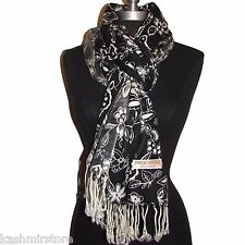 New Leaves/Flower printed pashmina Long scarf stole wrap shawl Black/White #P22