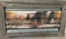 Corrugated Steel Print Framed in Rustic Barn Wood Embellished with Barbed Wire