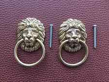 2 x Vintage Lions Head Solid Brass Drawer Handles,Ring Pulls