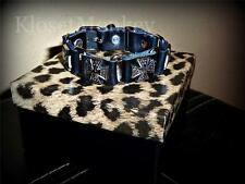 SEXY IRON MALTESE CROSS GENUINE LEATHER CHARM BUCKLE BRACELET BIKER GEMMA *NEW*