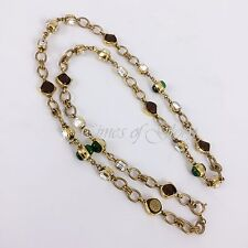 Auth Chanel 1980s Vintage GRIPOIX Poured Glass Pearl Long Gold Chain Necklace