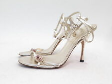 Gucci Jeweled Ladybug & Butterfly Accented Metallic Leather Sandal Gold Size 10