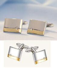 Manschettenknöpfe teilvergoldet + Kristallstein MK0324 ob Setmöglichkeit