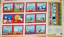 Tips from the Peanuts Gang Snoopy Charlie Brown Schultz Fabric Book Panel  23""