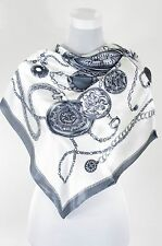 Antique Pocket Watch Print Square silk Scarf, grey color Summer Scarf