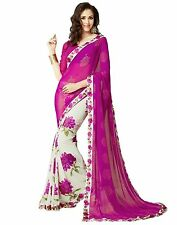 Saree sari women lady Indian Georgette Lace Saree Witht Blouse Piece (Pink )
