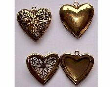 Antique GOLD Filigree Heart solid Perfume filigree scent Locket pendant 734x