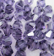 NEW 100pcs 4mm Glass Crystal #5301 Bicone beads Violet colors DIY  X22