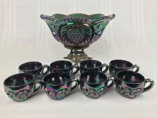 "Fenton Iridescent Blue Purple Carnival Glass 13 1/2"" Punch Bowl, Stand, 8 Cups"