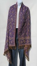 Yak Wool Shawl/Throw - Handloomed in Nepal - Reversible - Bluish PurpleGold/Tan