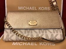 NWT MICHAEL KORS JET SET PVC LARGE PHONE WALLET CROSSBODY IN VANILLA/PALEGOLD