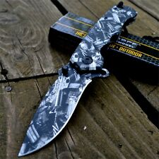 "9"" GUN CAMO METAL SPRING ASSISTED Folding Pocket Knife Army Military Tactical"