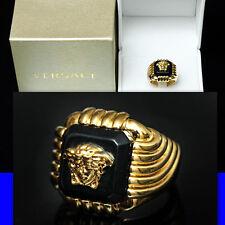 $595 GIANNI VERSACE Men's GOLD MEDUSA RING w/ Box & Certificate (11.5)