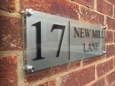 MODERN HOUSE SIGN PLAQUE NUMBER / STREET GLASS EFFECT ACRYLIC XLARGE 400MM/140MM