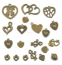 20x Mix Style Charms Heart Pendant Antiqued Bronze Necklace Jewelry Findings