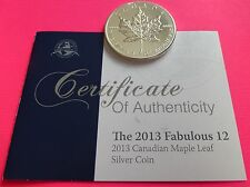 2013  CANADA  MAPLE LEAF $5 FIVE DOLLAR  SILVER 1oz  COIN  WITH COA