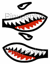 Flying Tigers Shark's Teeth Waterslide Decal Sticker Mirrored #323 by Pinupsplus