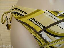 Lepel Tide Bikini Pant/Bottoms Mustard/Black Wave Side Tie UK Size 16 BNWT