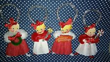 4 Vintage Style Christmas Chenille Kewpie Ornaments  Gift Tags
