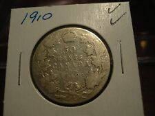 1910 -  Canada Silver 50 cent - circulated Canadian half dollar
