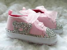 Baby Girls Bling Pink Teddy Bear Shoes Baby Bling Shoes Crib Shoes 6-12 mths