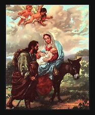 "VINTAGE 1940'S ""FLIGHT INTO EGYPT"" JOSEPH MARY JESUS DONKEY CALENDAR PRINT ART"