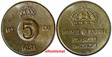 "SWEDEN Bronze Gustaf VI 1964-U 5 ORE ""50"" IN Crown KM#822 SCARCE"