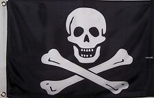 NO PATCH JOLLY ROGER PIRATE FLAG DOUBLE SIDED  2' X 3'  SKULL AND CROSSED BONES