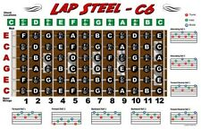 Lap Steel Guitar Fretboard Wall Chart Poster C6 Tuning Notes Rolls Chords