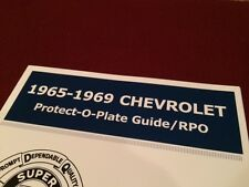1965 66 67 68 69 Protect-O-Plate POP Guide manual Camaro Chevelle Impala SS COPO