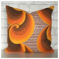 Cushion Cover Groovy 70s Orange Psychedelic Vintage Fabric  VW
