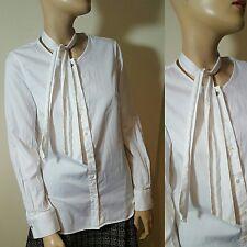 Massimo Dutti White Pussybow Pussy Bow Tie Neck Blouse Shirt Size 38 UK 10 12