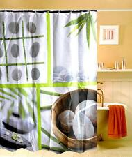 Zen Bamboo Leaves Pebble Stones Design Shower Curtain 180mm x 180mm Polyester