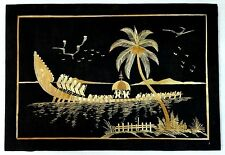 "Kerala Snake Boat Indian rice straw painting on cloth 13""x19"" 34cm x 49cm"