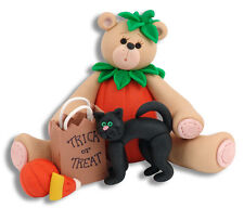 BEAR IN PUMPKIN SUIT Personalized HALLOWEEN Ornament  POLYMER CLAY by Deb & Co.