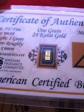 ACB Gold Vertical 1GRAIN 24K AU BULLION MINTED BAR 9999 FINE W/ CERTIFICATE!