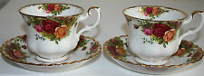 Original Royal Albert Old Country Roses 1962 2/PAIR TEACUPS/SAUCERS White Floral