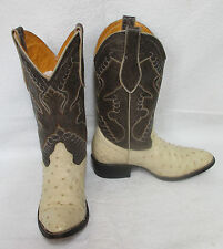 Men's Exportacion Mexican Handmade Leather & Ostrich Cream & Brown Cowboy Boots