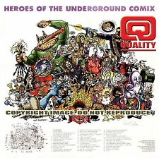 """HEROES OF UNDERGROUND COMIX 30x30"""" limited edition print signed by Hunt Emerson"""