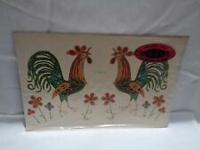 vintage decal Meyercord sequined and be-jeweled roosters 13 x 8.75 inches