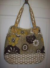 FOSSIL Neutral Tone Florals & Leather Trim Hobo Bag