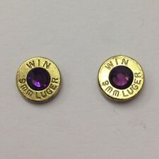 Bullet Jewelry Ammo Birthstone Earrings 9mm, 38 Special, 357, 40 Caliber