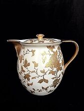 Vintage China Gold Gild Embossed Bird Leaves Flowers Cream 4 Cup Coffee Tea Pot
