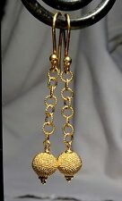 EXQUISITE SOLID 22K 18K GOLD GRANULATED BEAD DANGLY EARRINGS INSANELY BEAUTIFUL