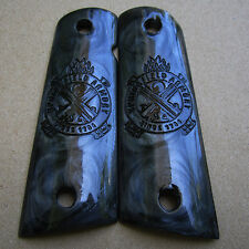 1911 Grips For Colt Kimber Clone Taurus Springfield Black Resin Pearl Full Size