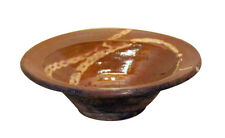 Antique French Country Provence Redware Pottery Slip Glaze Decorated Bowl 19th C